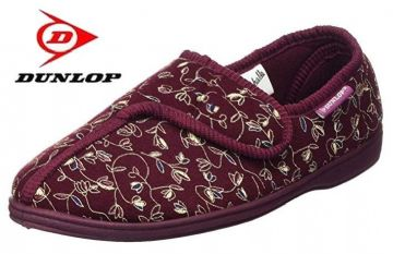 Dunlop BLUEBELL  Touch & Close Washable  slippers BURGUNDY